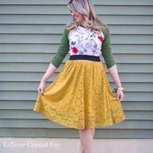 Lularoe Lolo Skirt Yellow Lace Floral XL